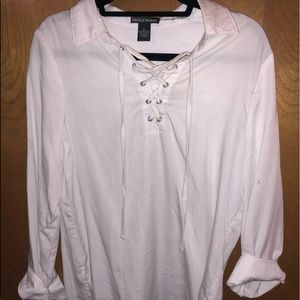 white lace up white collared shirt